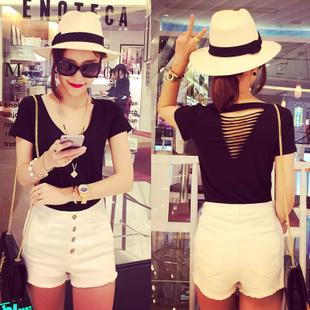 小银子2015夏装新款女装 韩版简约后背镂空V领修身短袖T恤